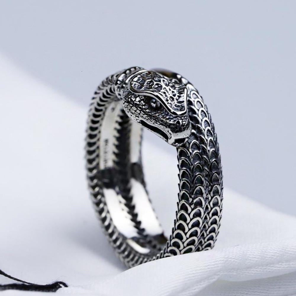 S925 sterling silver snake ring new three-dimensional king snake winding spirit snake ring retro trend men and women ring