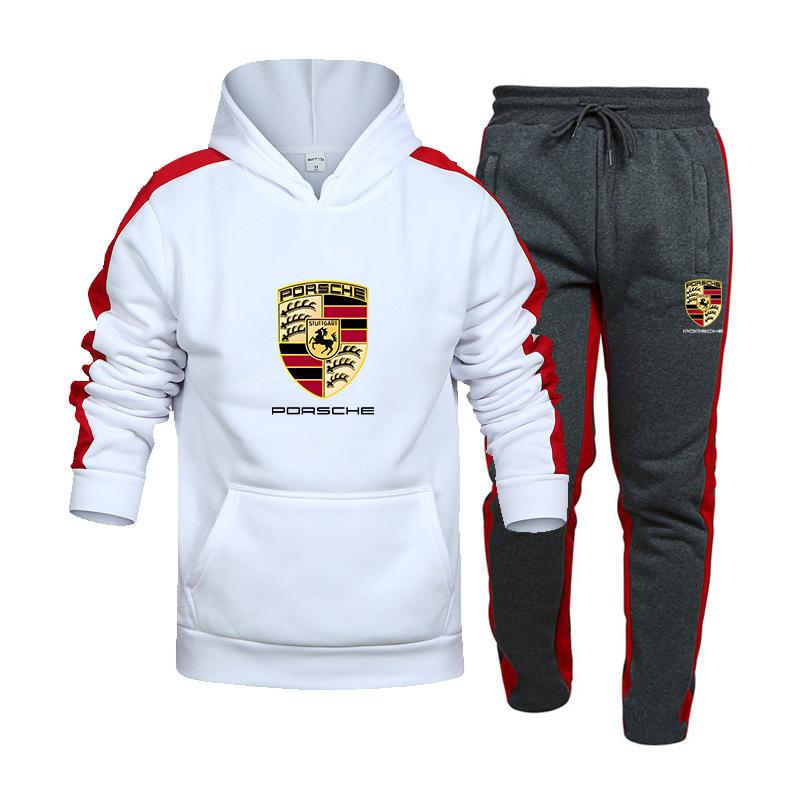Two-Piece Sportswear Mens Hooded Sweatshirt + Pants Porsche Car Logo Printing Hooded Sportswear Suit Casual Sports Suit