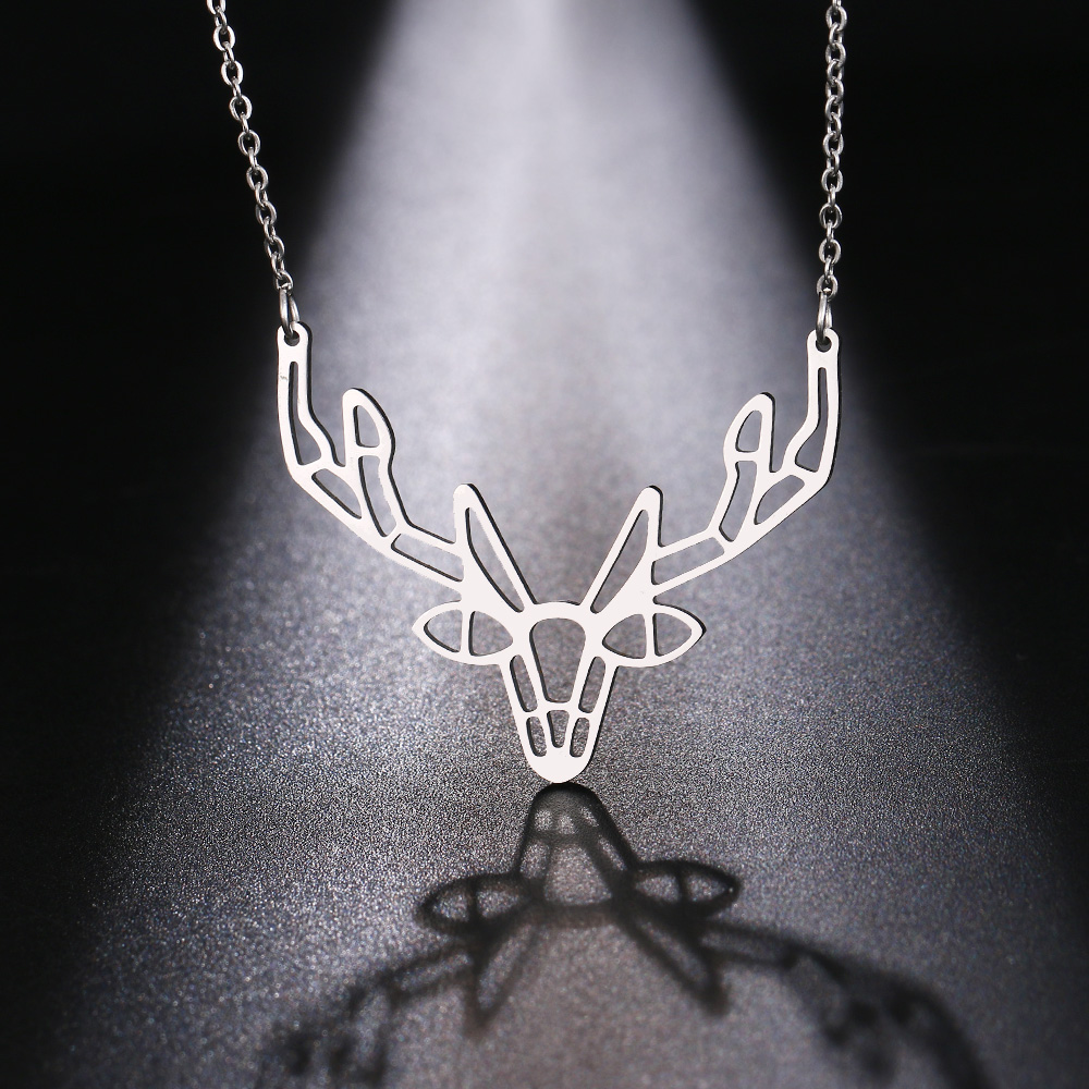 Cacana Stainless Steel Necklace Origami Deer Charm Necklace Women Boho Antler Horn Animal Christmas Jewelry Everyday Gift (7)