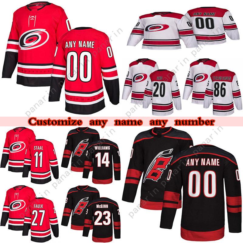 Custom Season Carolina Hurricanes hockey jerseys 48 Jordan Martinook(A) 86 Teuvo Teravainen 14 Justin Williams 11 Staal any number and name