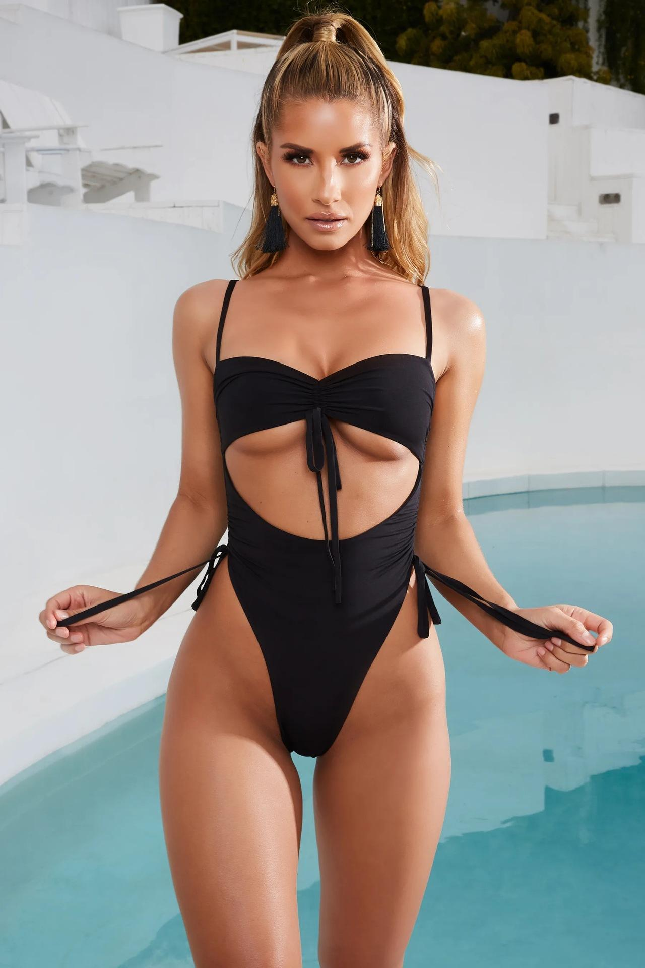 One-piece Backless Summer New Women Bikini Bandage Sexy European And American Slim Fit Swimsuits