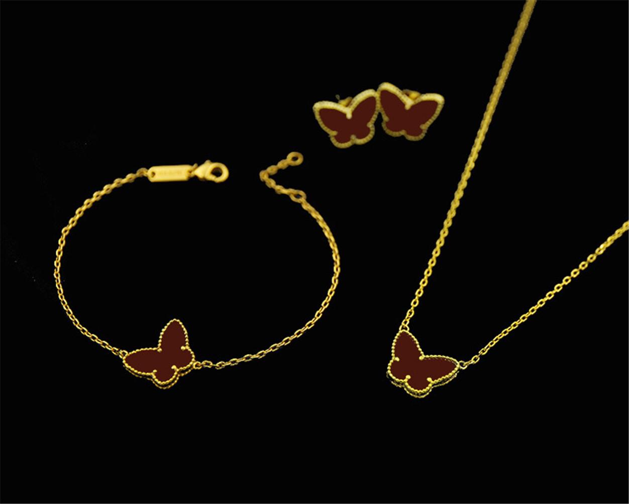 Van 18K Gold Fashion Classic Sweet 4/Four Leaf Clover Butterfly Earrings Bracelet Necklace Jewelry Set for S925 Silver Van Women&Girls Wedding Valentine's Day Gift