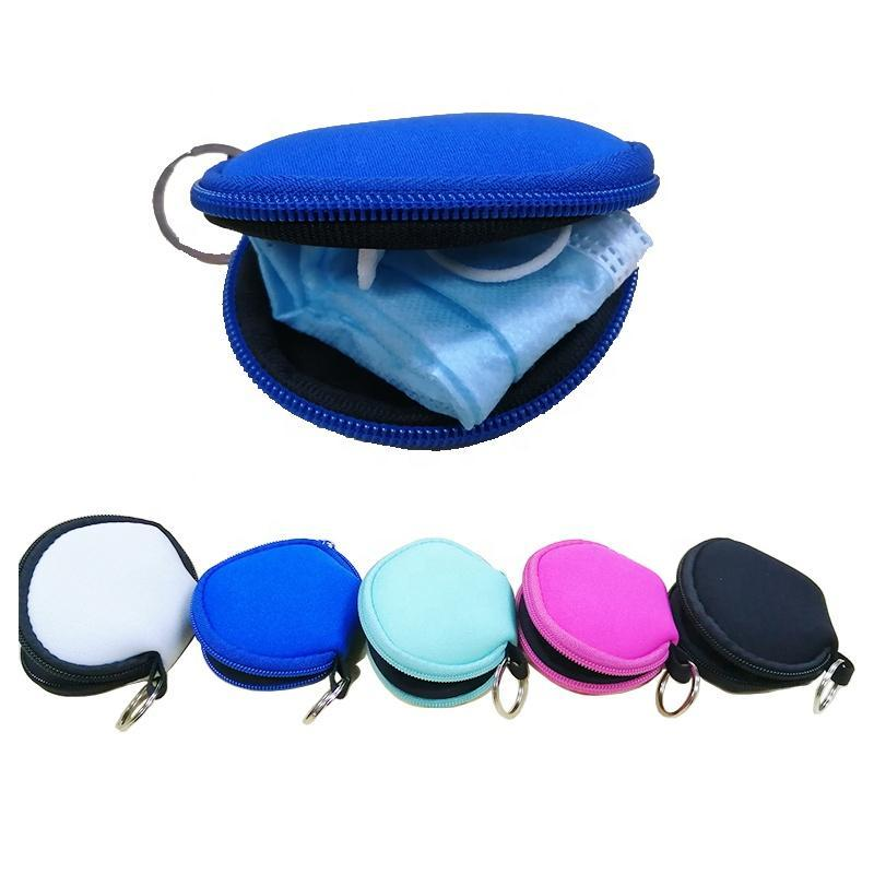 RTS Plain Color For Sublimation Waterproof Earbud Case/Bag Neoprene Zipped Coin Purse Face Cover Bag With Keyrings