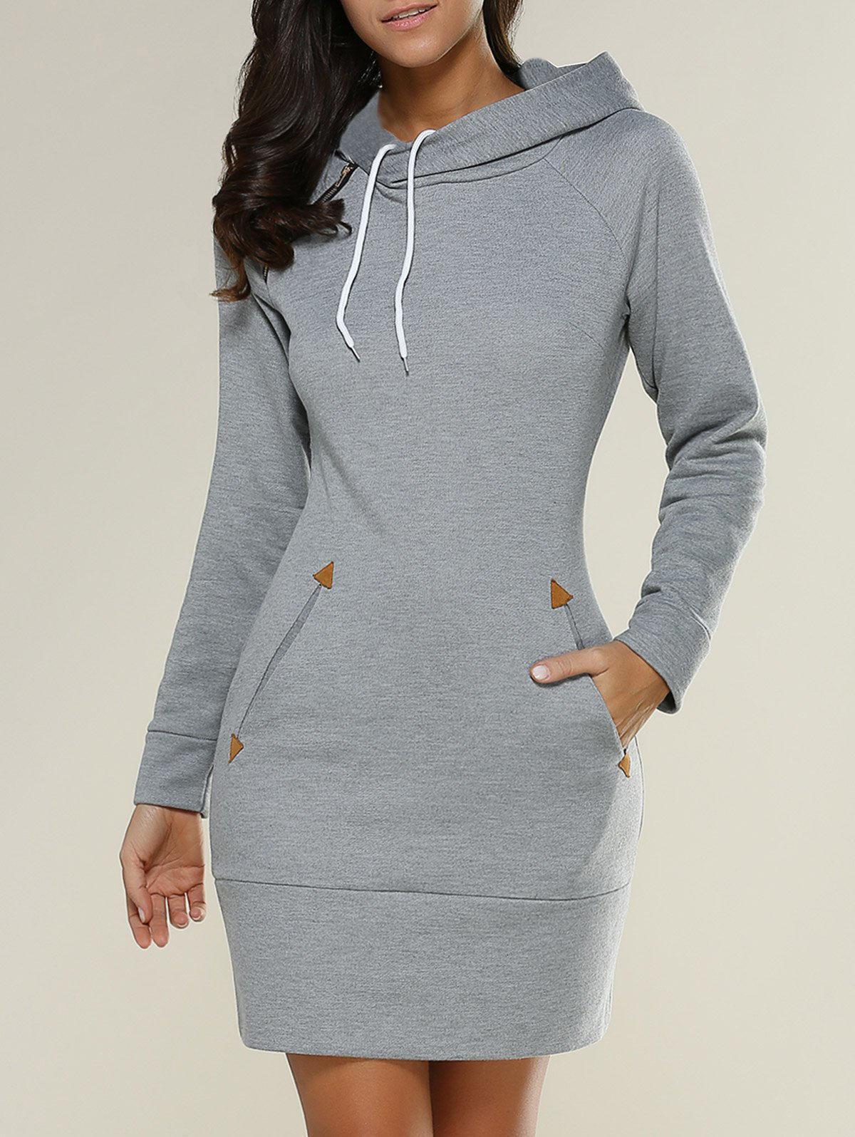Fashion Women Hoodies Sweatshirts Long Sleeves Korean Hooded Dress Plus Size XL Autumn Slim Pullovers Female