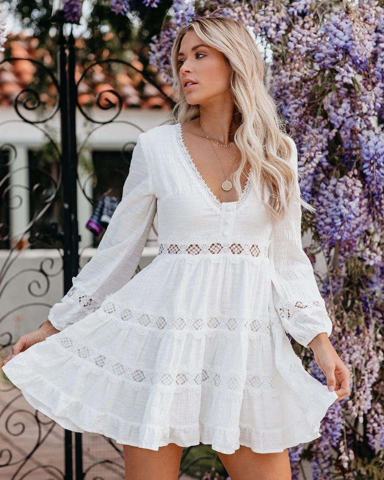 2021European and American trade fashion lace splicing high waist V neck long sleeve dress