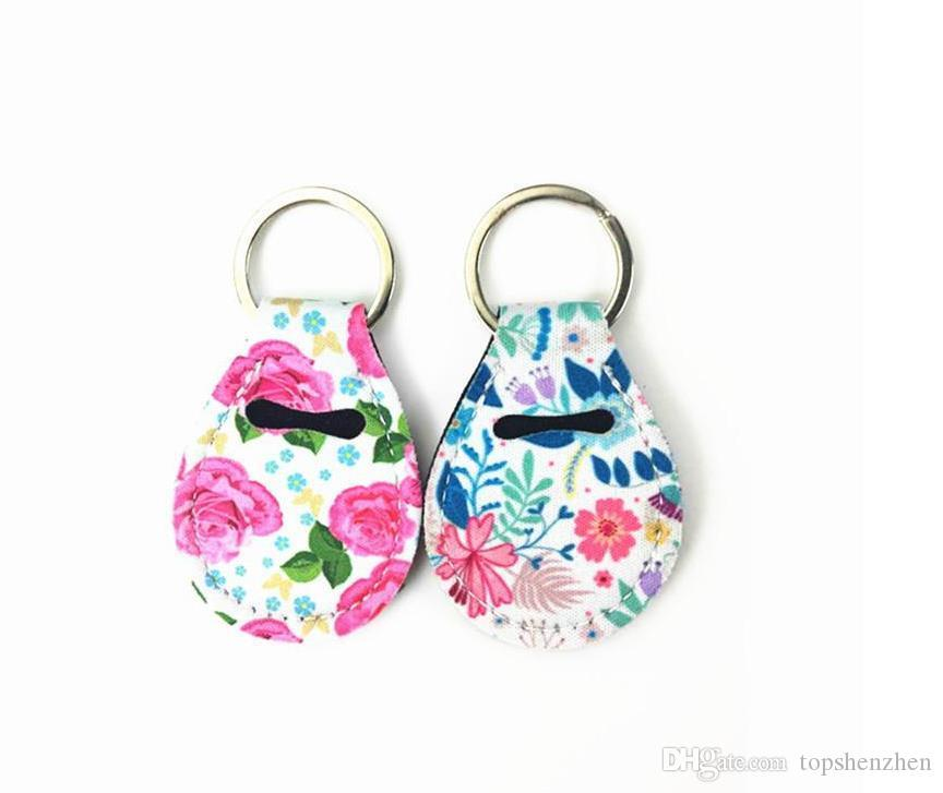 Design Neoprene Quarter Holder Keychain Diving Material For Party Favor Unicorn Pattern Floral Print With Metal Ring