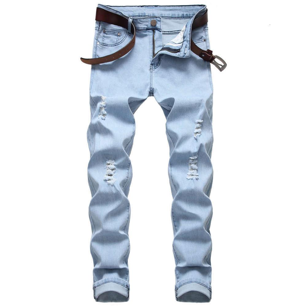 Mens Jeans Slim Fit Hole High Street Biker Summer Casual Fashion Urban Stretch