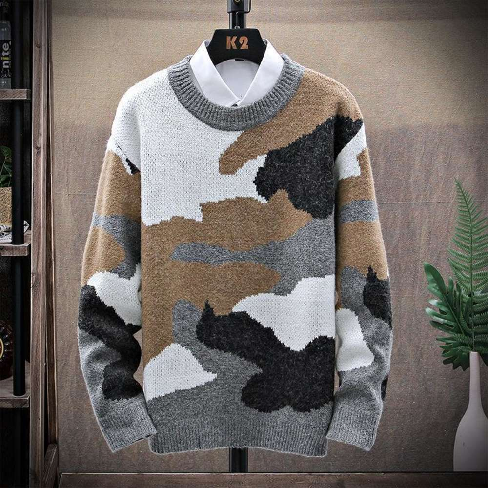 Men New Fall Winter Soft Cashmere Sweater Thick Warm Camouflage Style Male Pullovers Top Quality Printed Christmas Sweaters