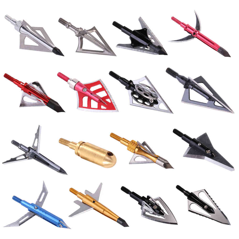 6pcs Arrow Broadheads 100gn-125gn Arrows Tips for Archery Hunting Compound Bow and Crossbows and Recoil Arrow Heads X0524