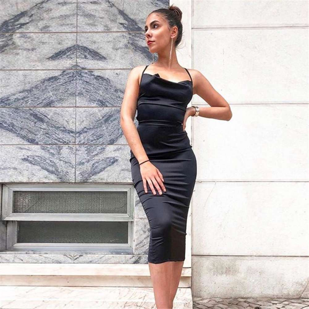 Spaghetti Strap Backless Womens Dresses Solid Color Skinny Sleeveless Dress for Women Casual Femme Clothes