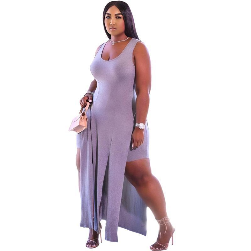 Plus size 3XL Women Tracksuits sexy Two piece sets split tank top+shorts summer clothing jogger suit casual Sweatsuit sports outfits 4880