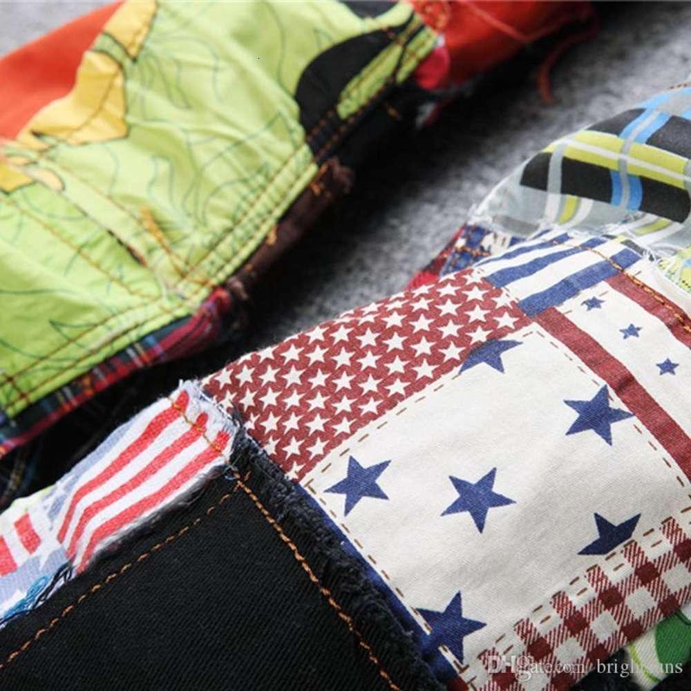 Wholesale-Newest Mens Hip Hop Jeans Pants Patchwork Colorful Washed Slim Fit Club Dance Hiphop Denim Jean Pants Men Colorful patchwork jeans