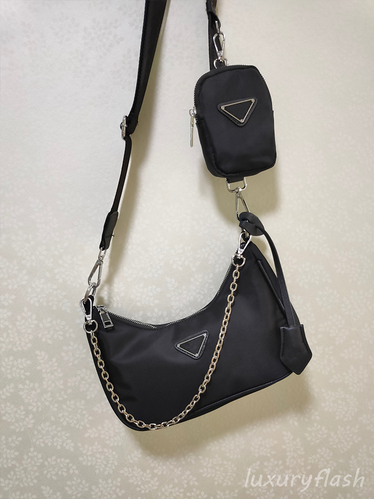 2021 Canvas Two-in-one Shoulder Bag Summer Simple Fashion High Quality Ladies Messenger Purse Chain Armpit Bags Luxurys Brands Handbag