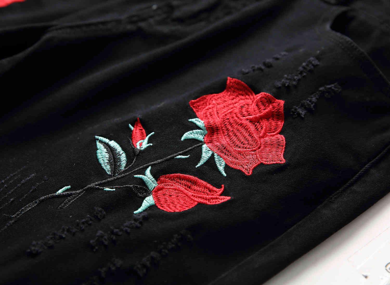 Skinny Mens Black Jeans Cool Men Ripped Jeans Embroidery Stretch Slim Fit Denim Biker Jeans Hip Hop Men Streetwear 1855#