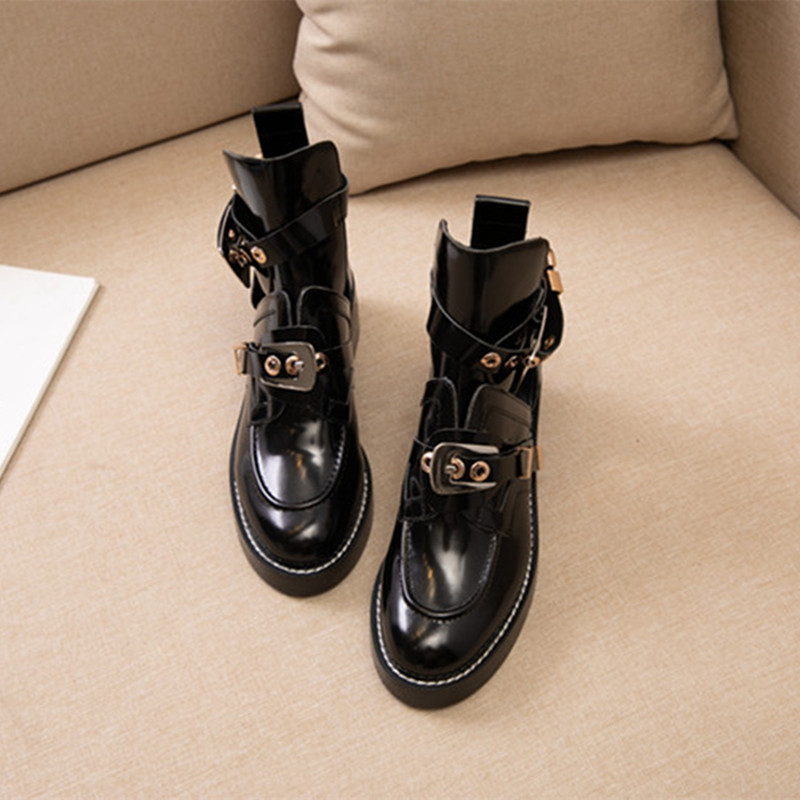 Designer womens cool boots 100% cowhide classic black luxury ankle metal leather thick heel fashion womenss Martin boot size3 color matching 34-41