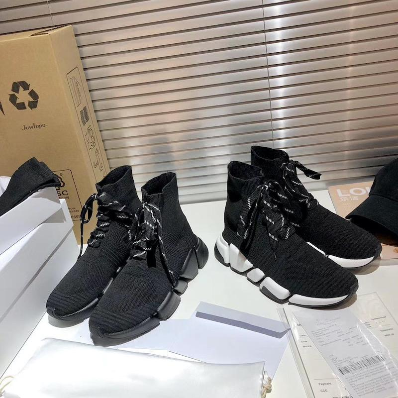 Lastest Sock Sneakers Stretch Mesh Lace-up Sneakers For Men Women Black White 34 Colors Knit Trainers Shoes Top Quaility Eu46