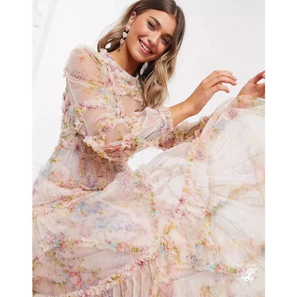 2021 ladies dress printing party super long retro chiffon beach holiday cocktail sexy hollow costume