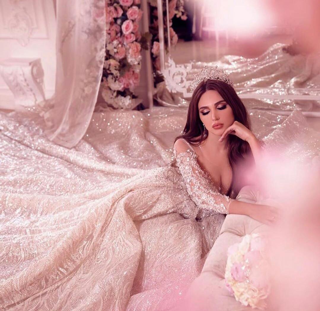 2021 Arabic Luxurious Wedding Dresses Sheer Long Sleeve Shiny Sequined Plus Size vestido de novia Custom Made Lace Bridal Gowns