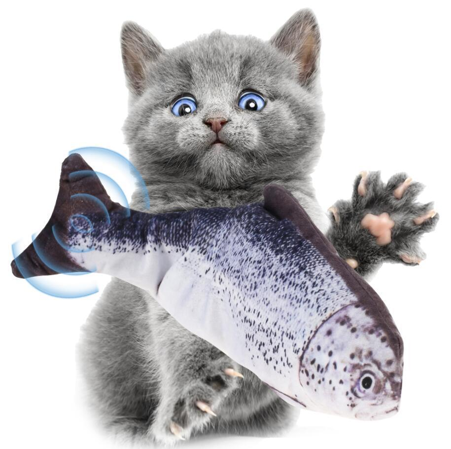 Pet Soft Plush 3D Fish Shape Cat Toy Interactive Gifts Fish Catnip Toys Stuffed Pillow Doll Simulation Fish Playing Toy For Pet Gift