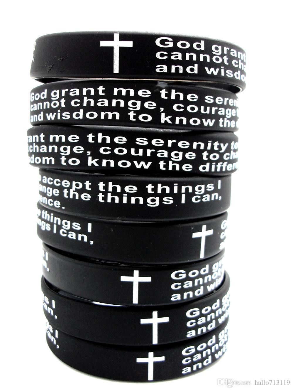 Inspirational English Serenity Prayer Silicone Bracelets Christian Men Cross Fashion Wristbands wholesale GOD SERENITY Jewelry