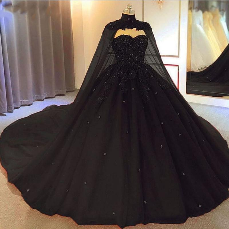 2021 Black Ball Gown Gothic Wedding Dresses With Cape Sweetheart Beaded Tulle Princess Bridal Gowns Non White Plus Size Corset Back Marriage
