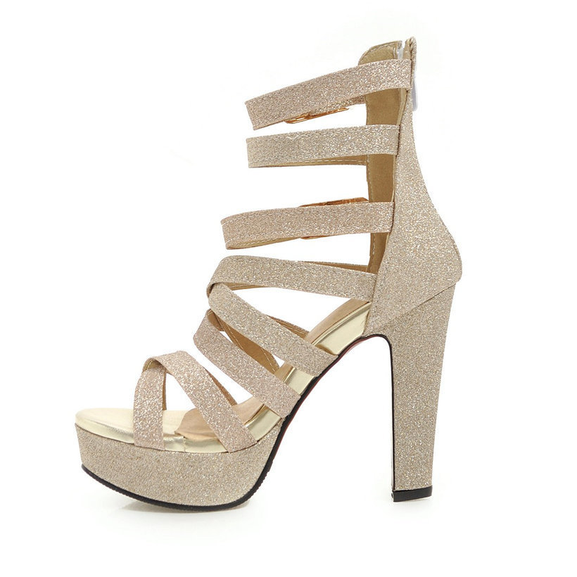 Gold Glitter Women Platform Sandals High Chunky Heels Black Silver PU Casual Party Club Bucke Strap Zipper Lady Gladiator Shoes Y200620