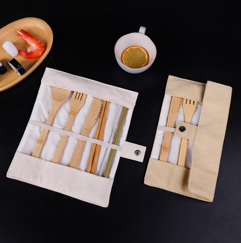 Wooden Dinnerware Set Bamboo Teaspoon Fork Soup Knife Catering Cutlery Sets with Cloth Bag Kitchen Cooking Tools Utensil