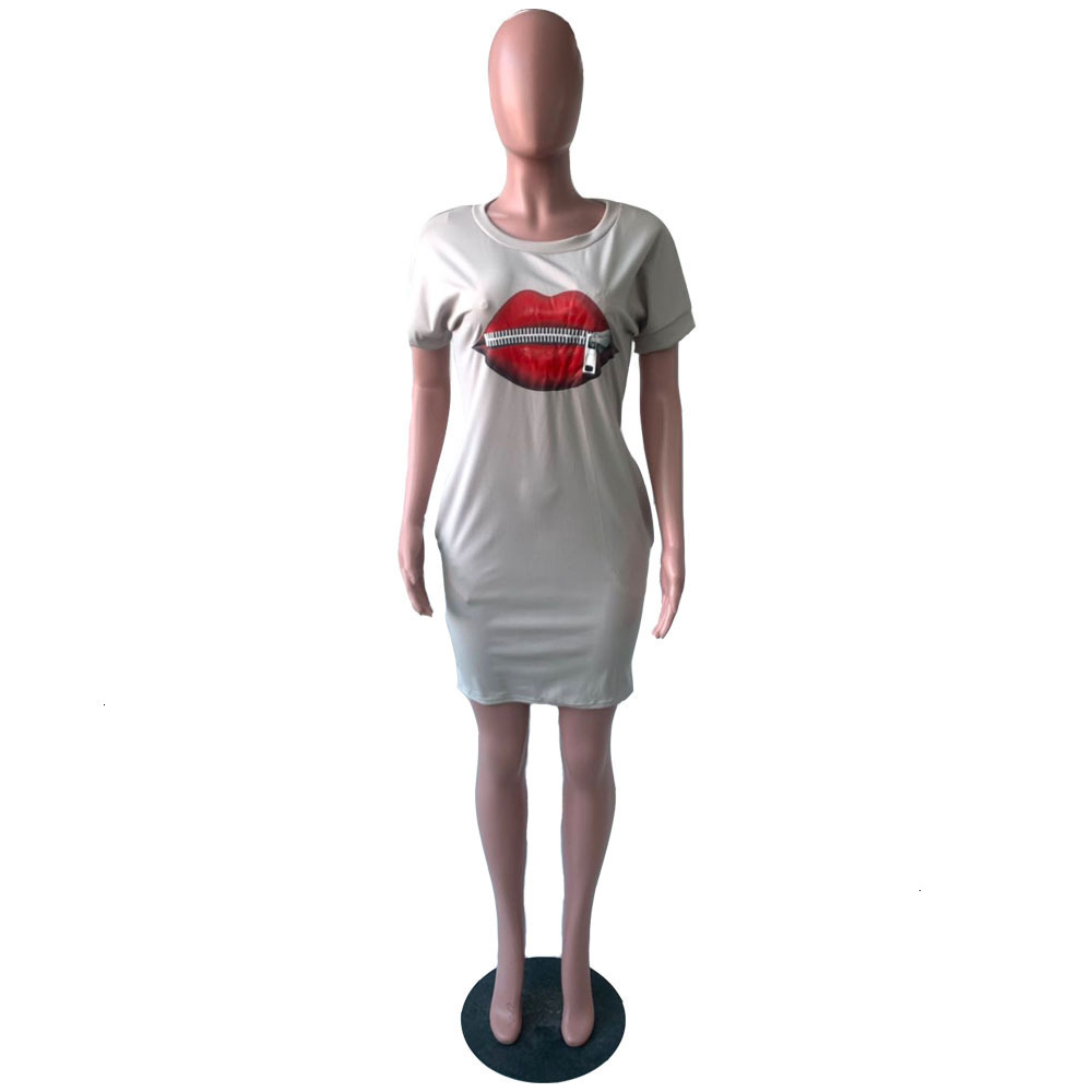 Crew Neck Tshirt Dress Famale Designer Clothes Women Big Mouth Zipper Dress Summer Casual Short Sleeve