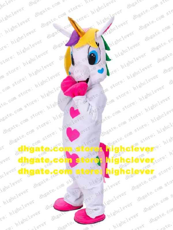 White Unicorn Rainbow Pony Flying Horse Mascot Costume Adult Cartoon Character Outfit Fashion Planning Advertising Drive cx2054