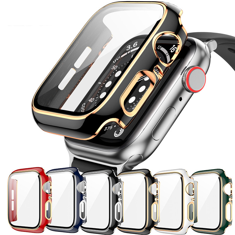 PC Hard Case with Tempered Glass Film for Apple Watch SE Cover Series 6 5 4 3 Screen Protector 40mm 44mm 38mm 42mm