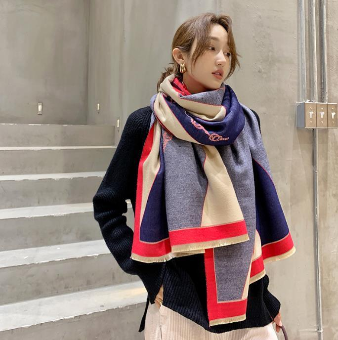 2020 Winter Scarf Women Cashmere Scarf New Fashion Warm Foulard Lady Horse Scarves Color Matching Thicken Soft Shawls Wraps