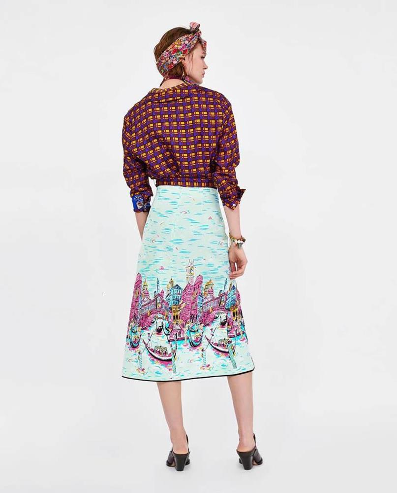 summer fashion women skirt Venice Water City Print Sexy split slit skirt Stitching zipper fashion
