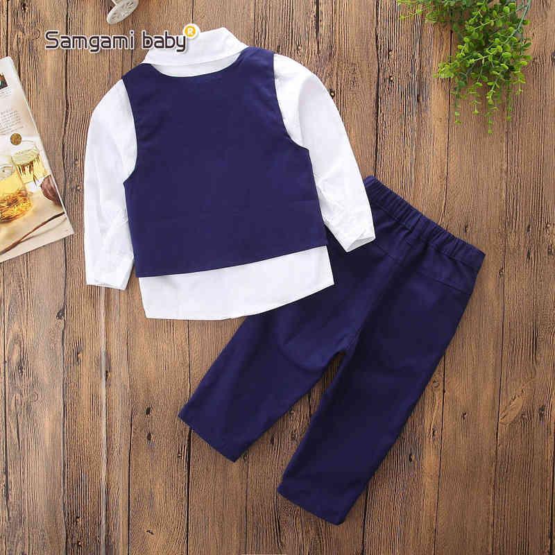 Kids Boy Gentleman Suits Ins Baby Clothes Pullover Necktie Vest Neckline Emboss Studs Collar Spring Autumn Boutique Clothing Sets