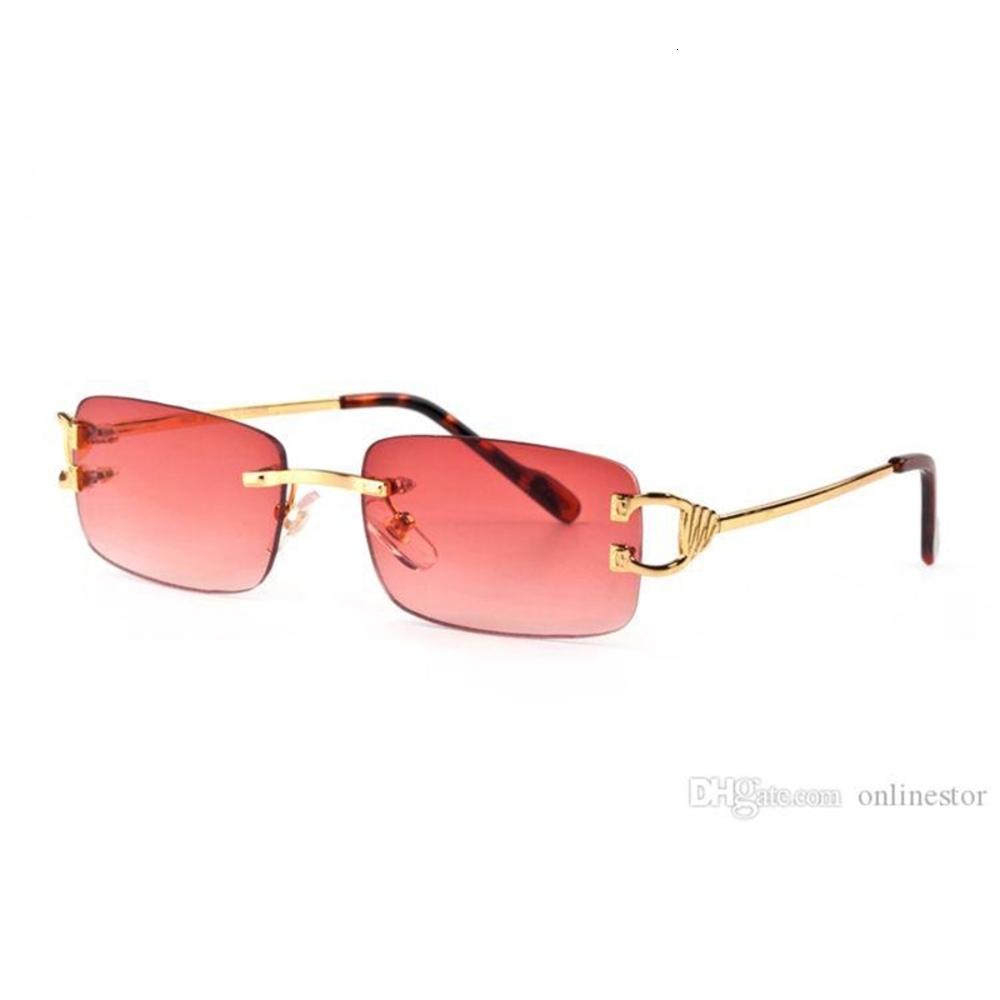 Red fashion sport sunglass for men 2020 unisex buffalo horn glass men women rimls sun glass sier gold metal frame Eyewear lunett