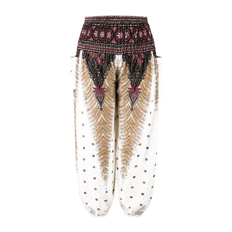 Casual Print Retro Men Harem Pants Baggy Loose Trousers National Style Festival Hippy Smock Lantern For Mens Men's