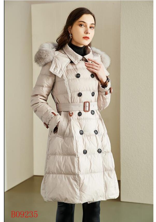 NEW 2021! women winter warm white duck down coat/great quality branded long style duck down coat/thickness coat with fur B9235F970 size S-XXL