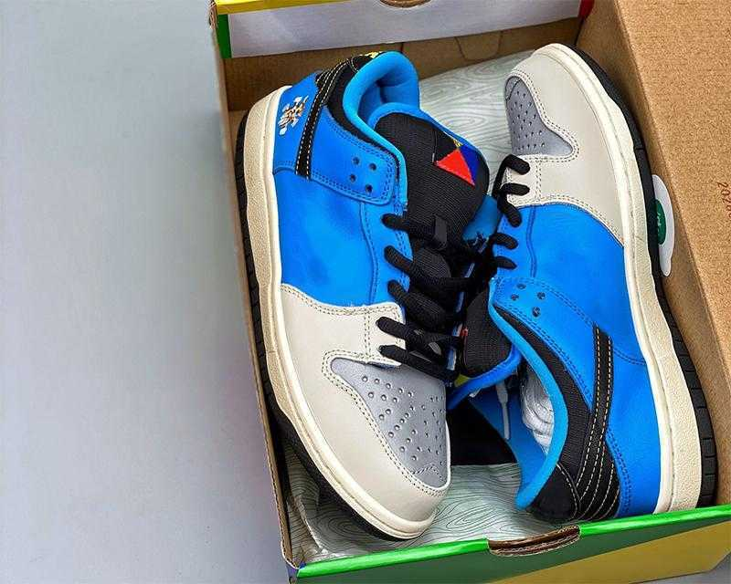 Instant Skateboard x low dunks running shoes SB Chunky Dunky Men's and women's Blue/gray3M Reflective Material UNC DUNK outdoors fallow sports sneakers with box