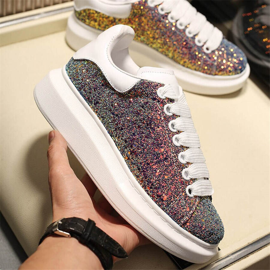 Mens Platform Sneakers Women Classic Diamond Fully White Shoes Leather Fashion Platform Shoes Trendy Designer Casual Shoes