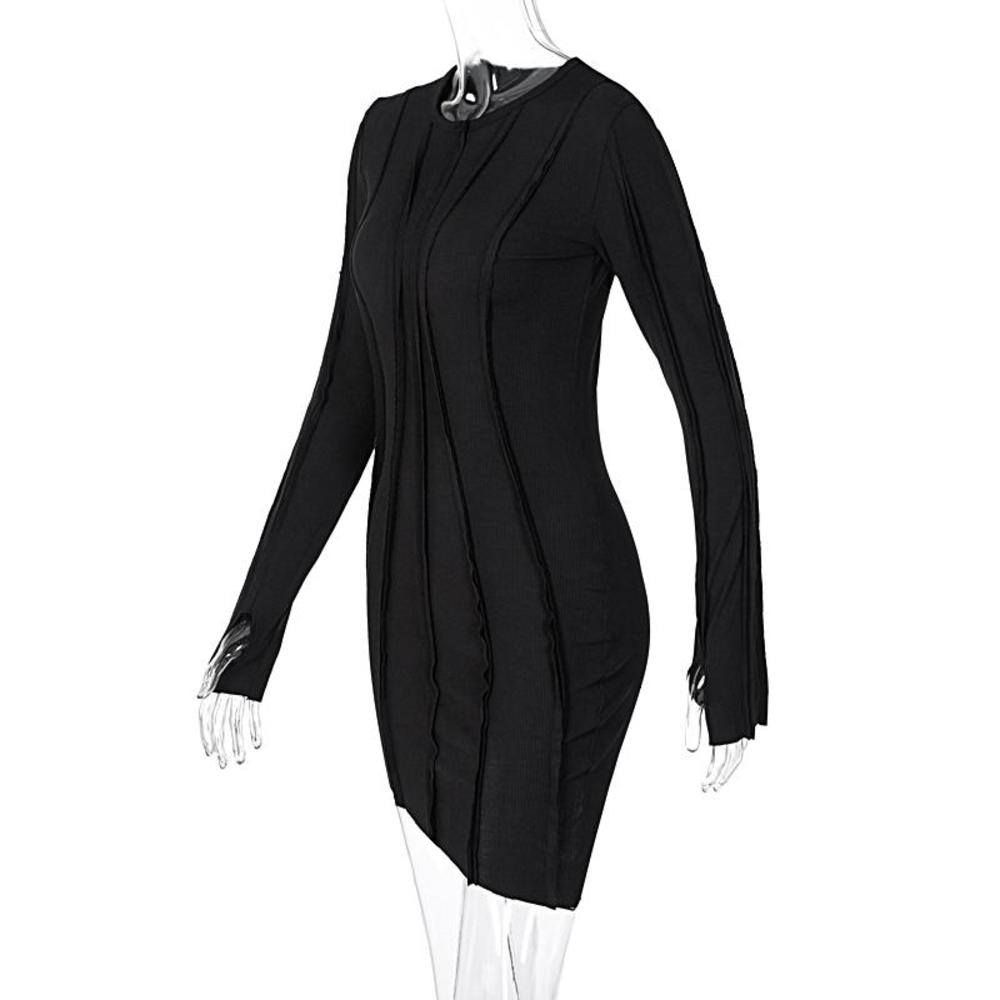 2021 Spring Long Sleeve Patchwork Sexy Mini Dress Black bodycon dresses Autumn Winter Women Fashion Irregular Party Outfits