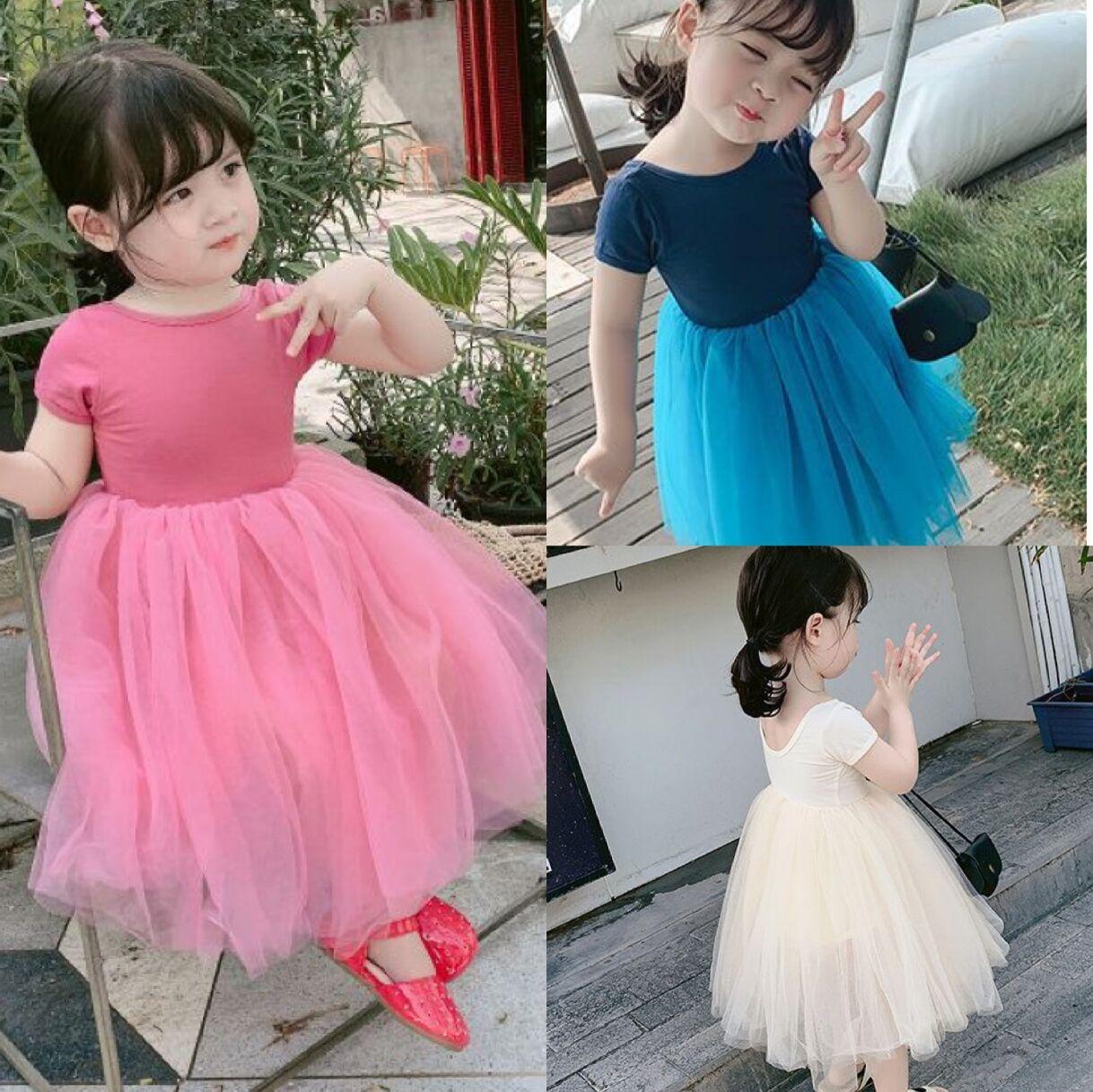 INS Baby Girl Tutu Dresses Kid Off Shoulder Summer Party Elegant Solid Color Agaric Lace Gauze Skirt 3 colors