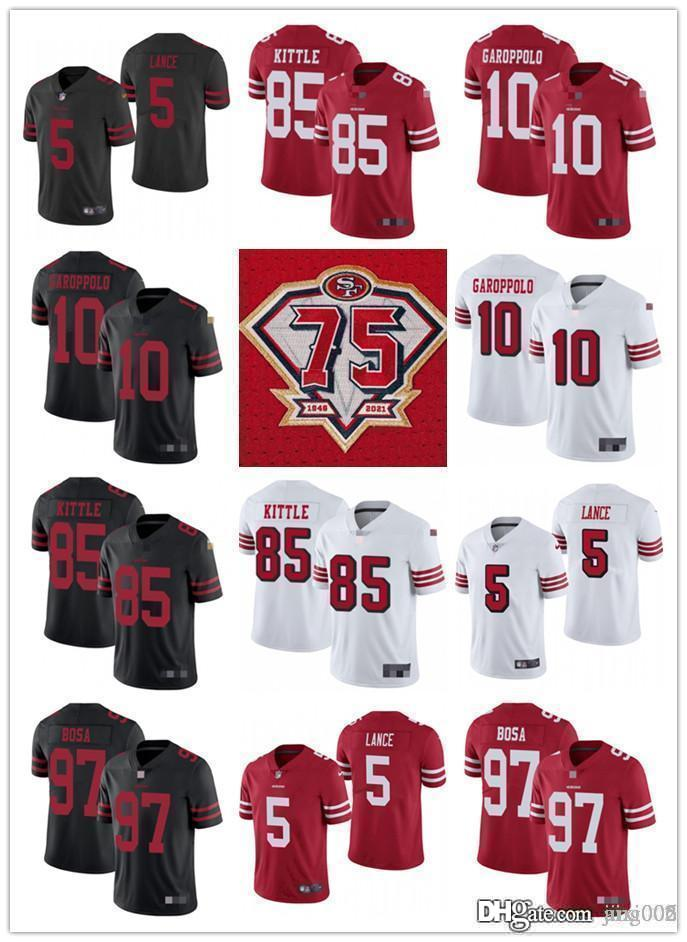 "75th Men Women Youth San Francisco""49ers""85 George Kittle 10 Jimmy Garoppolo 5 Trey Lance 97 Nick Bosa Red Custom Football Jersey"