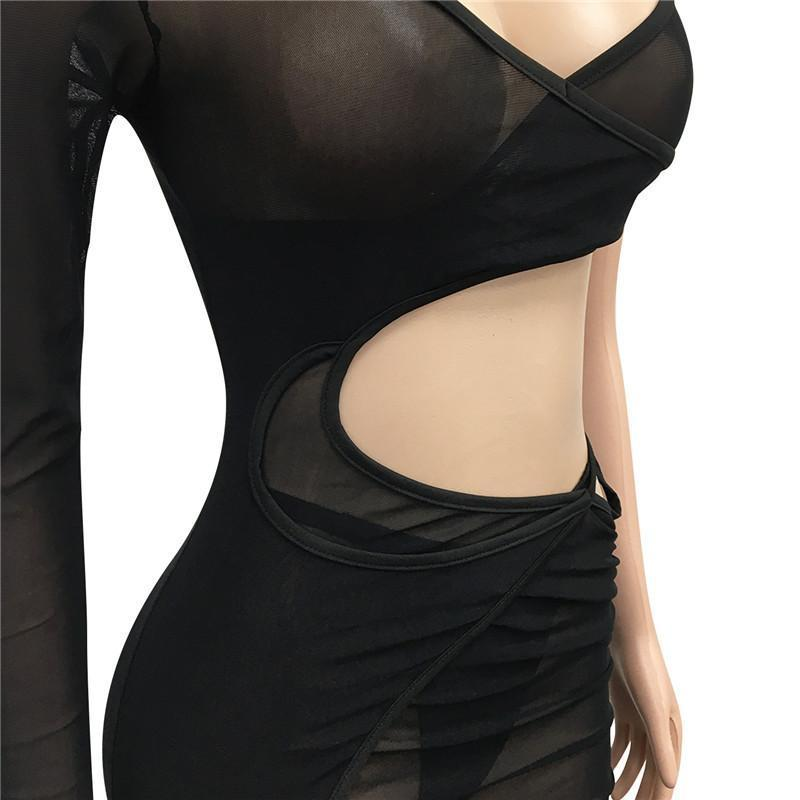 Summer clothing Women sexy mesh sheer casual mini dresses long sleeve Plus size 2XL plain bodycon night club skirts fashion slim dress 4664