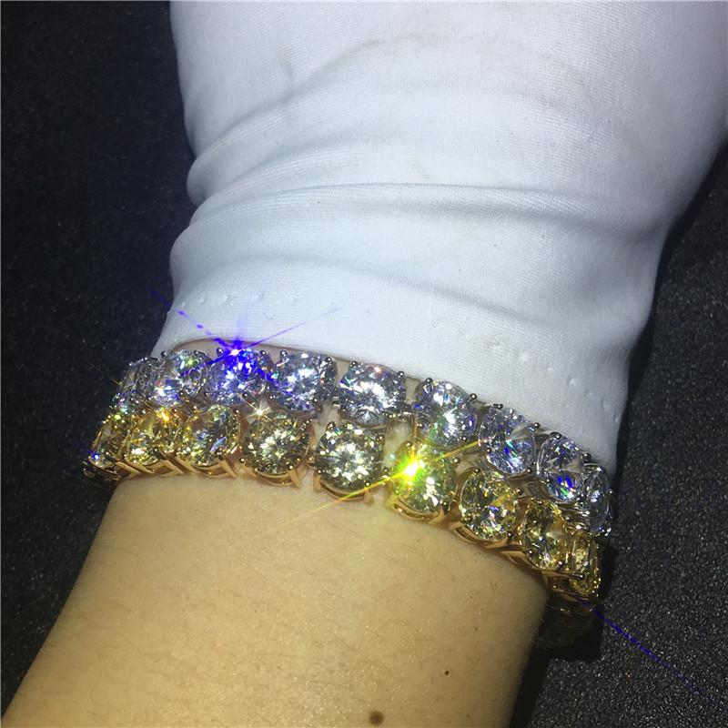 Vecalon Fashion Tennis Bracelet Round 8mm Diamond White gold filled Engagement wedding Bracelets for women Jewelry
