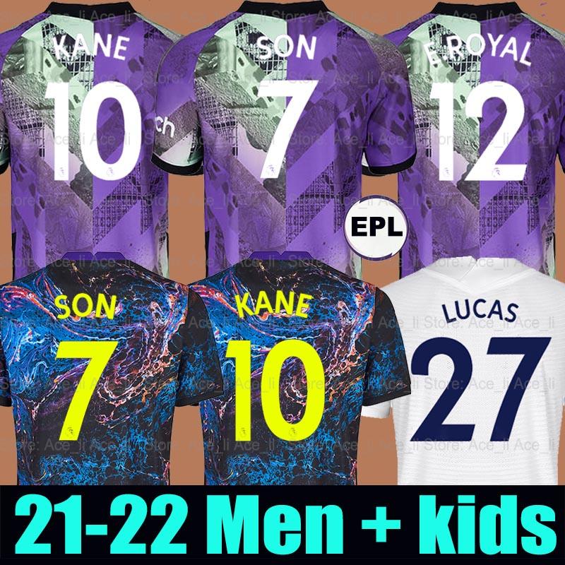 21 22 Tottenham SON soccer jersey Emerson Royal ROMERO DELE KANE REGUILON HOJBJERG LUCAS BERGWIJN LO CELSO SPURS third football shirt 2021 2022 men + kids kit uniforms