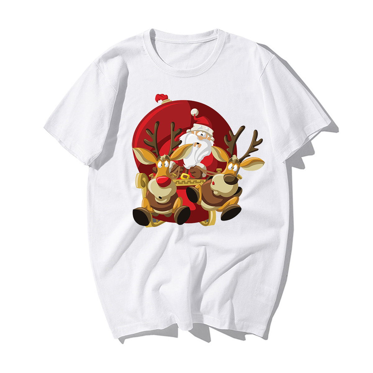 Funny Santa Claus Reindeer T-Shirt Happy New Year T-shirts Men Merry Christmas Tshirts Casual Cotton Xmas Lovers Gift Tshirt Men