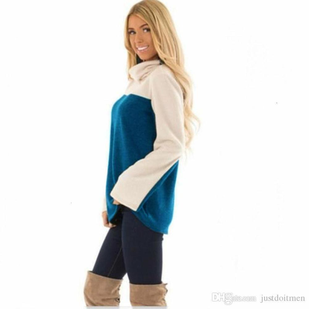 Size Long Sleeved Tshirt Famale Designer Tees Womens Stitching Contrast Color Tshirt Casual Loose Turtleneck Large