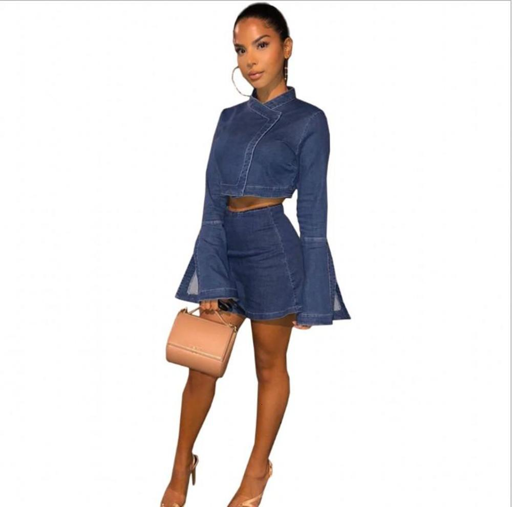 INS Fashion Women Denim Skirt Sets Autumn Long Bell Sleeves Cropped Top + Bodycon Mini Skirt Two Pieces Clubwear Outfits 2020 New