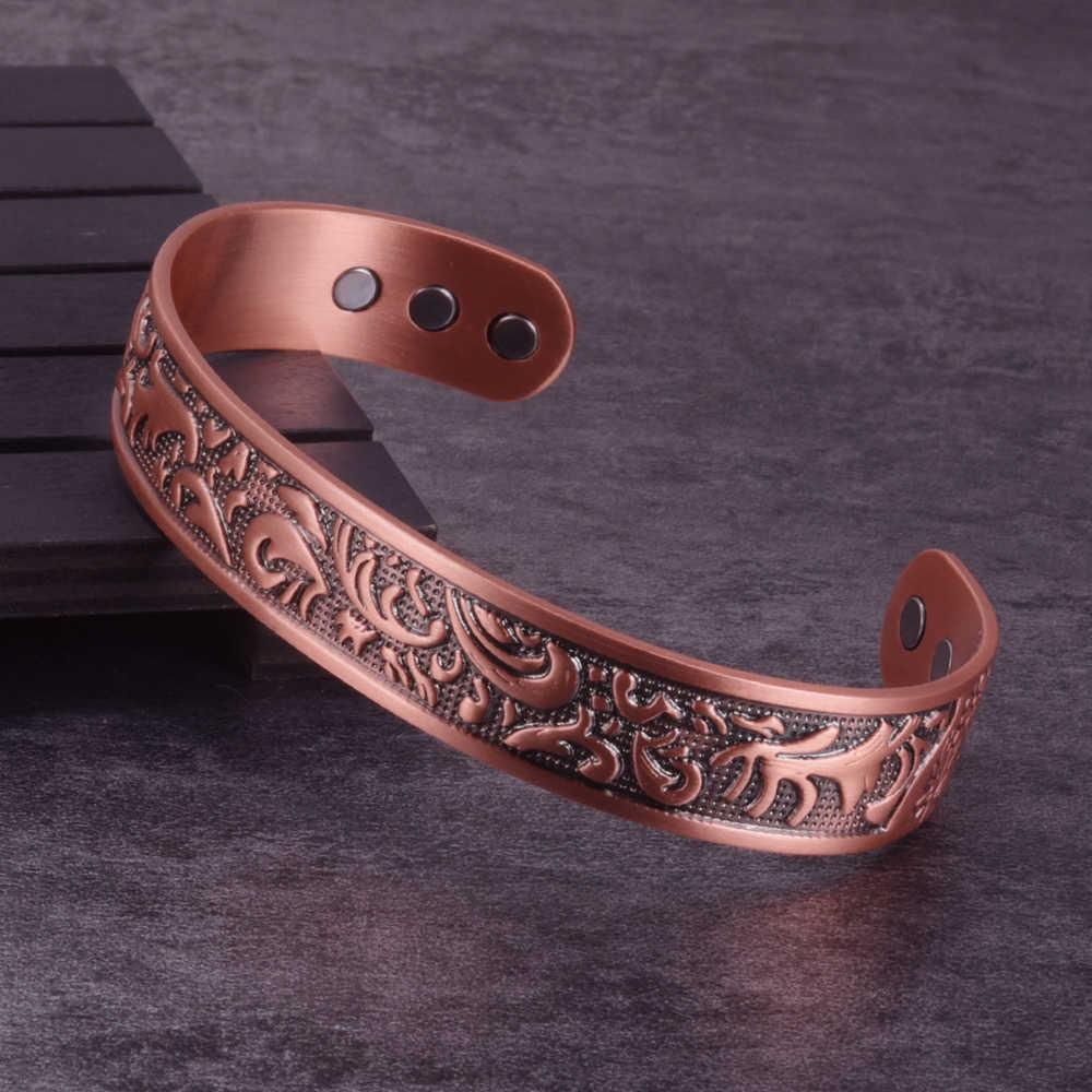 Pure Copper Bracelet Men 15mm Wide Adjustable Vintage Cuff Copper Magnetic Bracelet Arthritis Magnetic Therapy Energy Bracelet Q0717