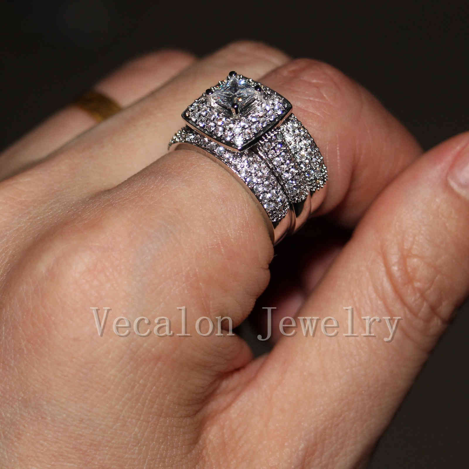 Vecalon Topaz Simulated diamond cz 14KT White Gold Filled 3-in-1 Engagement Wedding Band Ring Set for Women Sz 5-11