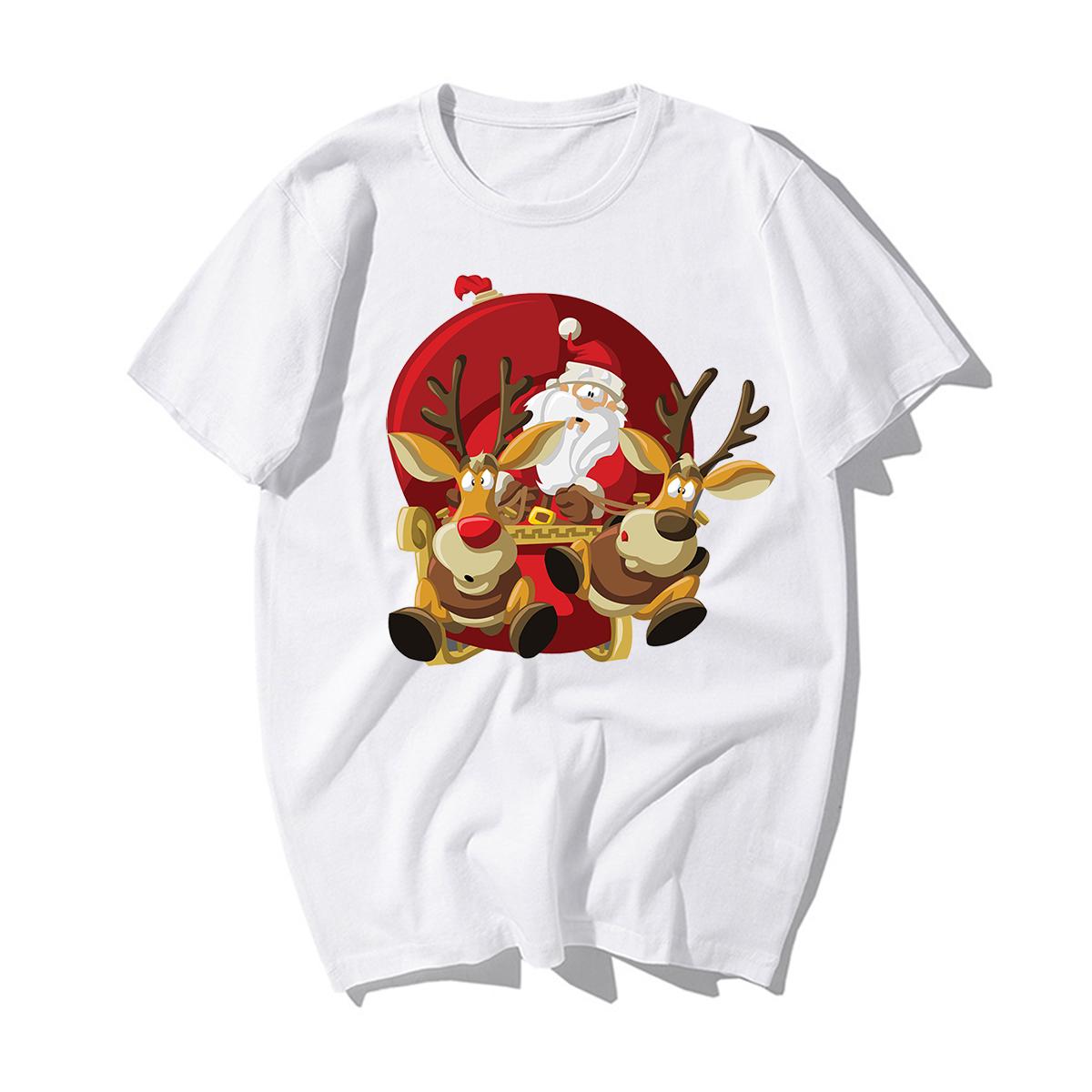 Funny Santa Claus Reindeer T-Shirt Happy New Year T-shirts Men Merry Christmas Tshirts Casual Cotton Xmas Lovers Gift Tshirt Men